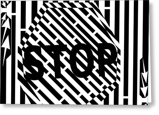 Traffic Drawings Greeting Cards - Stop Sign Maze Greeting Card by Yonatan Frimer Maze Artist