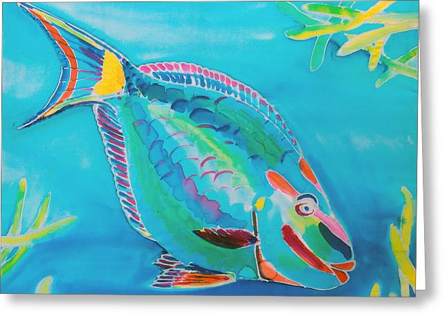 Tropical Island Tapestries - Textiles Greeting Cards - Stoplight Parrot Fish Greeting Card by Kelly     ZumBerge
