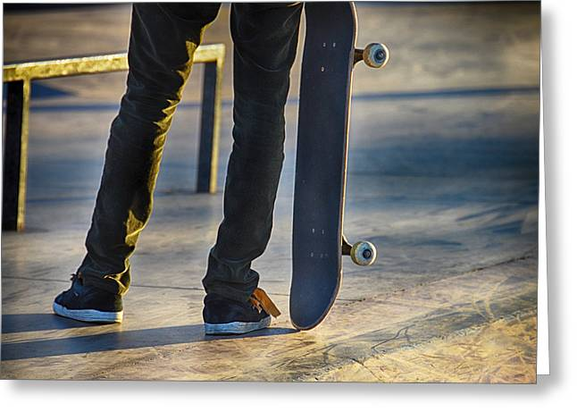 Skates Mixed Media Greeting Cards - Stopped Greeting Card by Angelina Vick