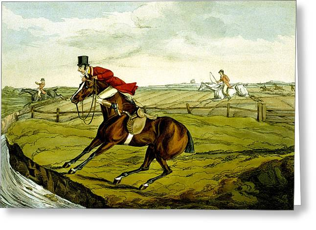 Refuse Greeting Cards - Stopping at Water from Qualified Horses and Unqualified Riders Greeting Card by Henry Thomas Alken