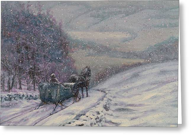 Recently Sold -  - Snowy Evening Greeting Cards - Stopping by Woods Greeting Card by Ken Fiery