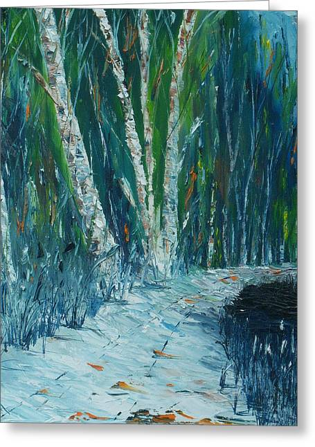 Snowy Evening Paintings Greeting Cards - Stopping By Woods on a Snowy Evening Greeting Card by Conor Murphy