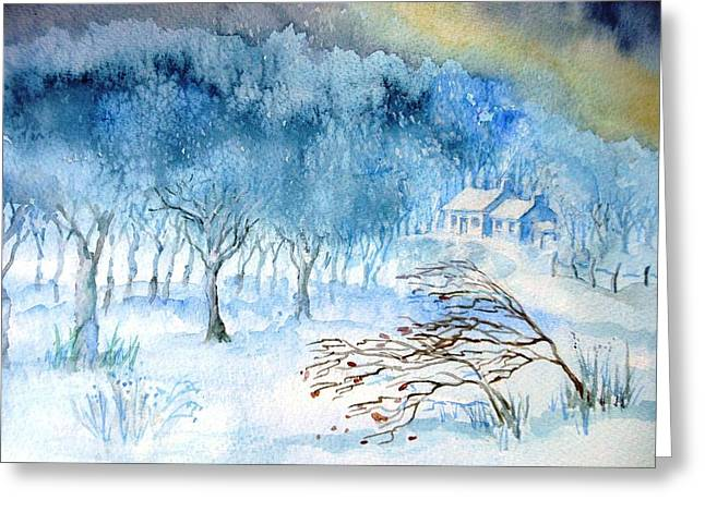 Snowy Evening Paintings Greeting Cards - Stopping by Woods on a Snowy Evening Greeting Card by Trudi Doyle