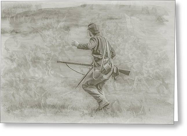 Confederate Monument Digital Art Greeting Cards - Stopping Picketts Charge at Gettysburg Greeting Card by Randy Steele