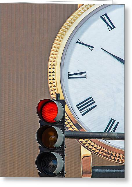 Traffic Control Greeting Cards - Stopping Time Greeting Card by Gary Slawsky