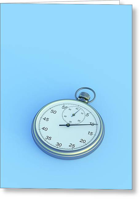 Stopwatch On Blue Background Greeting Card by David Parker