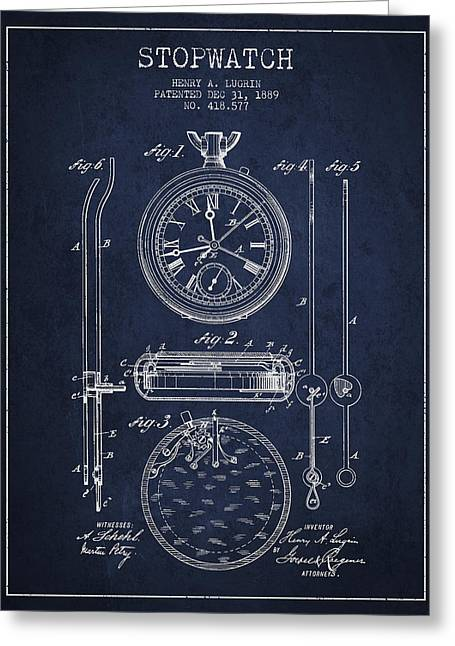 Clock Greeting Cards - Stopwatch Patent Drawing From 1889 Greeting Card by Aged Pixel