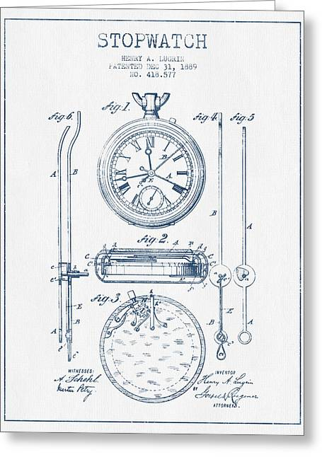 Alarm Clock Greeting Cards - Stopwatch Patent Drawing From 1889 - Blue Ink Greeting Card by Aged Pixel