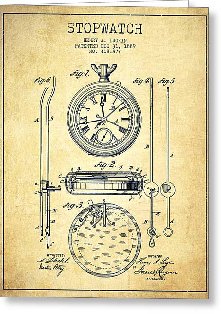 Clock Greeting Cards - Stopwatch Patent Drawing From 1889 -Vintage Greeting Card by Aged Pixel