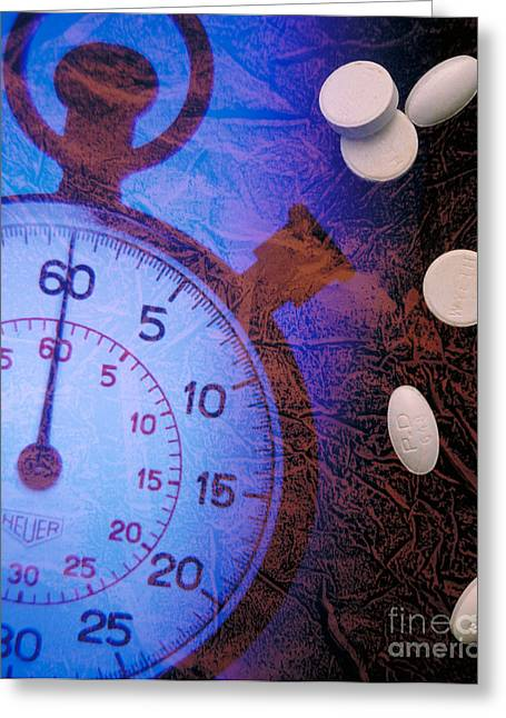 Medication Greeting Cards - Stopwatch With Pills Greeting Card by Dennis Potokar