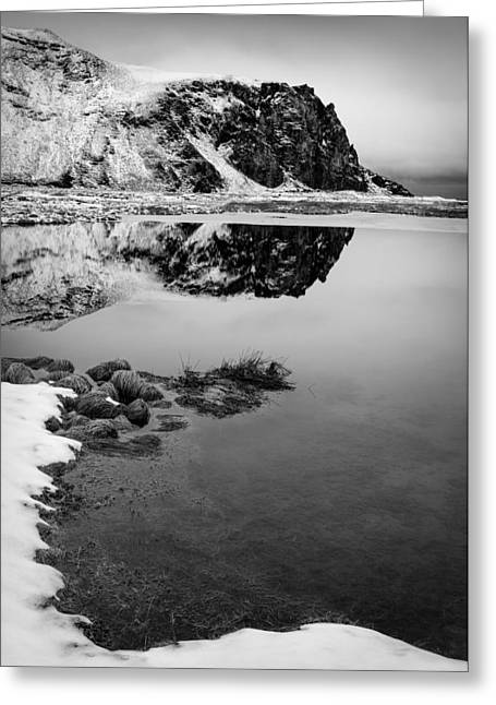 Icelandic Greeting Cards - Stora Dimon Reflection Greeting Card by Dave Bowman