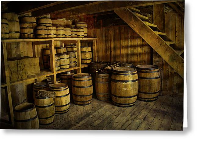 Randy Greeting Cards - Storage Room with Barrels Greeting Card by Randall Nyhof