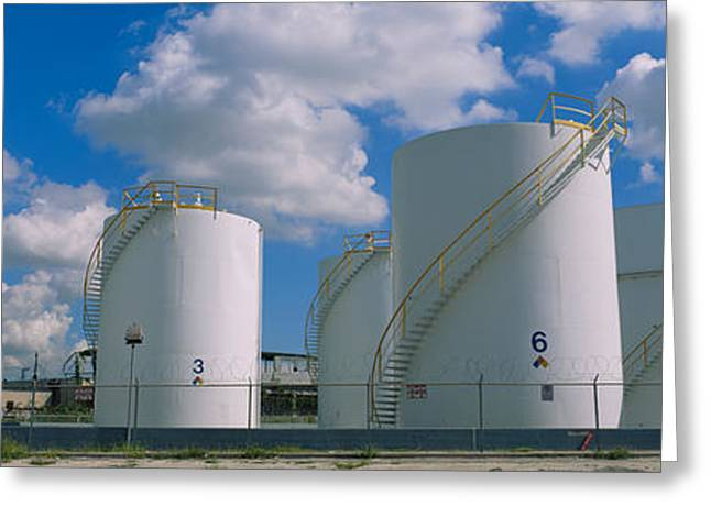 Strength Photographs Greeting Cards - Storage Tanks In A Factory, Miami Greeting Card by Panoramic Images