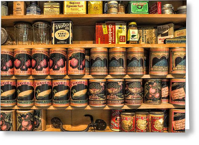 Canned Goods Greeting Cards - Store - General Store Canned Provisions II Greeting Card by Lee Dos Santos