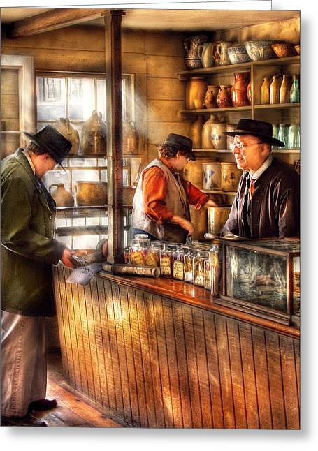 Old Pitcher Greeting Cards - Store - Ah Customers Greeting Card by Mike Savad