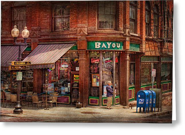 Store Fronts Greeting Cards - Store - Albany NY -  The Bayou Greeting Card by Mike Savad