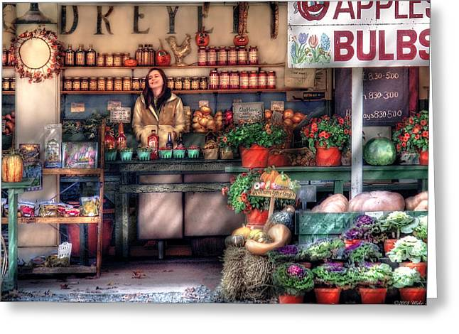 Fruit Store Greeting Cards - Store - Dreyers Farm Greeting Card by Mike Savad