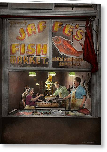 Colorized Greeting Cards - Store - Fish NY - Jaffes Fish Market Greeting Card by Mike Savad