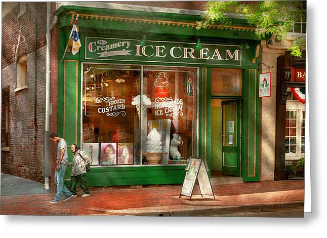 Grandson Greeting Cards - Store Front - Alexandria VA - The Creamery Greeting Card by Mike Savad