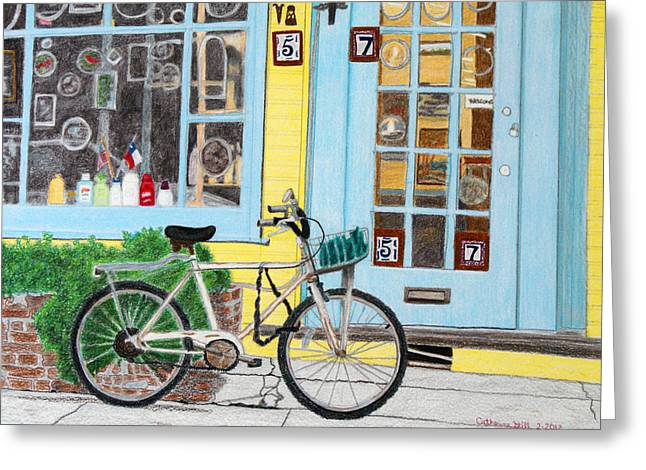 Store Fronts Drawings Greeting Cards - Store Front Bike Greeting Card by Cathy Still