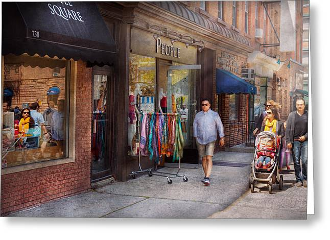 Family Walks Greeting Cards - Store Front - Hoboken NJ - People Greeting Card by Mike Savad