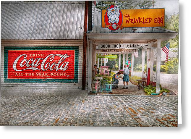 Carbonated Greeting Cards - Store Front - Life is Good Greeting Card by Mike Savad