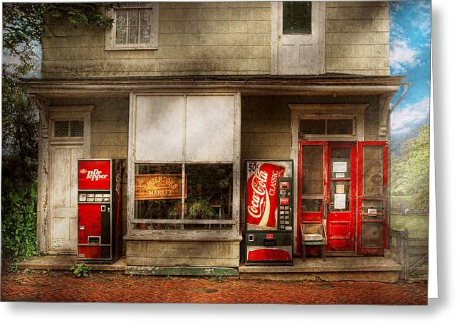 Store Front - Waterford Va - Waterford market  Greeting Card by Mike Savad