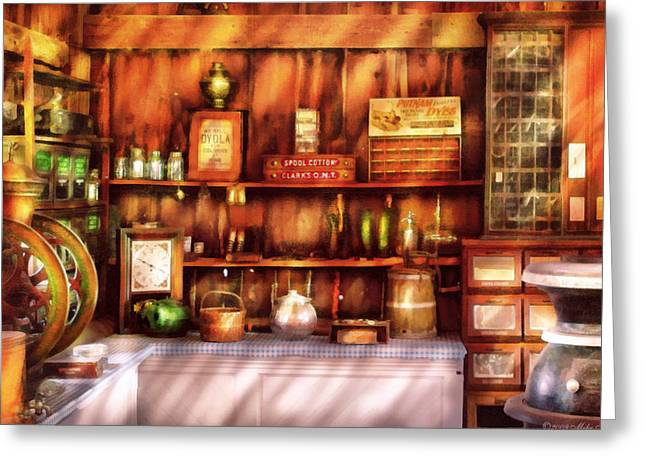 Clerk Greeting Cards - Store -  The General Store  Greeting Card by Mike Savad