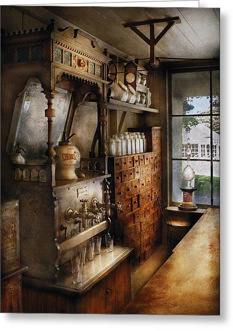 Store - Turn Of The Century Soda Fountain Greeting Card by Mike Savad