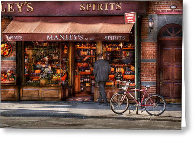 Store - Wine - NY - Chelsea - Wines and Spirits Est 1934  Greeting Card by Mike Savad
