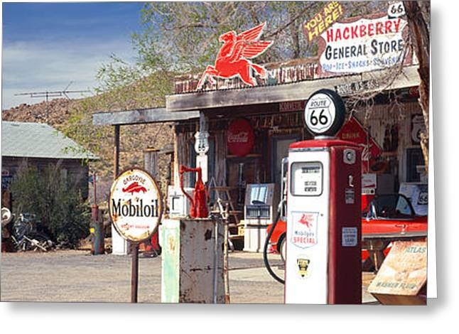 Convenience Greeting Cards - Store With A Gas Station Greeting Card by Panoramic Images