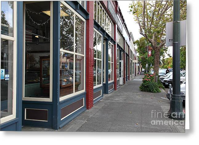 Historic Country Store Photographs Greeting Cards - Storefronts In Historic Railroad Square Area Santa Rosa California 5D25856 Greeting Card by Wingsdomain Art and Photography
