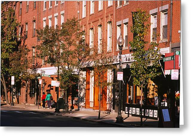 Boston North End Greeting Cards - Stores Along A Street, North End Greeting Card by Panoramic Images