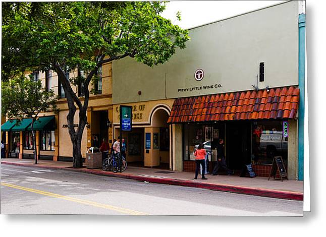 San Luis Obispo Greeting Cards - Stores At The Roadside, Downtown San Greeting Card by Panoramic Images