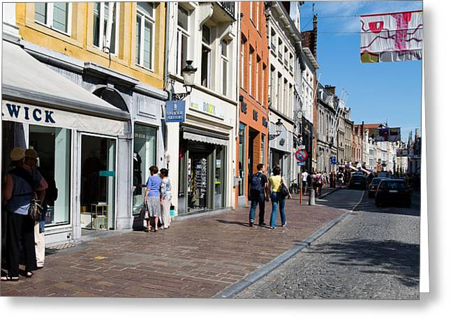 Awning Photographs Greeting Cards - Stores In A Street, Bruges, West Greeting Card by Panoramic Images