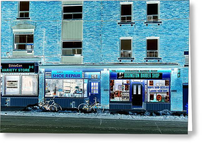 Shoe Repair Greeting Cards - Stores on Ossington in Blue Greeting Card by Valentino Visentini