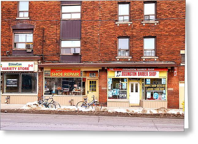 Shoe Repair Greeting Cards - Stores on Ossington Greeting Card by Valentino Visentini