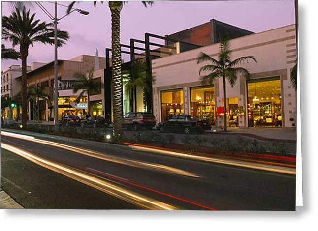 The Hills Greeting Cards - Stores On The Roadside, Rodeo Drive Greeting Card by Panoramic Images