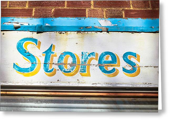 Mottled Greeting Cards - Stores sign Greeting Card by Tom Gowanlock
