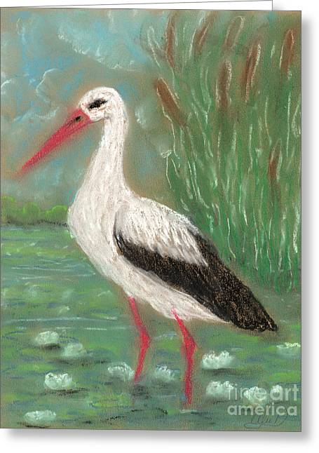 Anna Maciejewska-dyba Greeting Cards - Stork Greeting Card by Anna Folkartanna Maciejewska-Dyba
