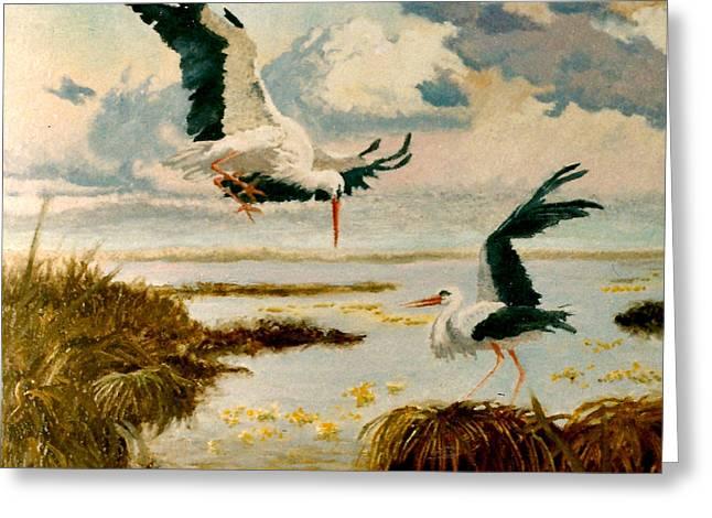Storks II Greeting Card by Henryk Gorecki
