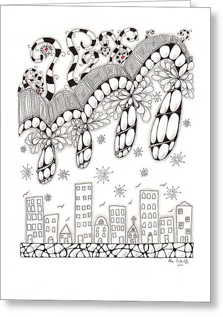 Storm Clouds Drawings Greeting Cards - Storm Above the City Greeting Card by Paula Dickerhoff