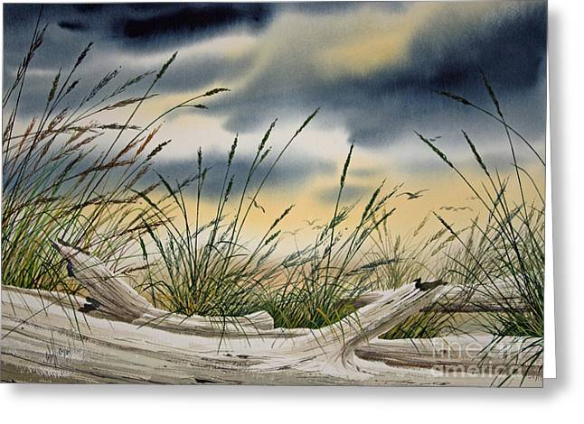 Storm Prints Paintings Greeting Cards - Storm Along the Shore Greeting Card by James Williamson