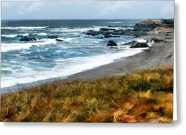Recently Sold -  - Cambria Greeting Cards - Storm Approaching Along the Central California Coast Greeting Card by Elaine Plesser