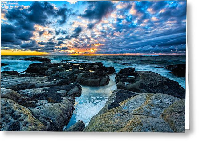 Sunset Seascape Greeting Cards - Storm Arrival Greeting Card by Robert Bynum