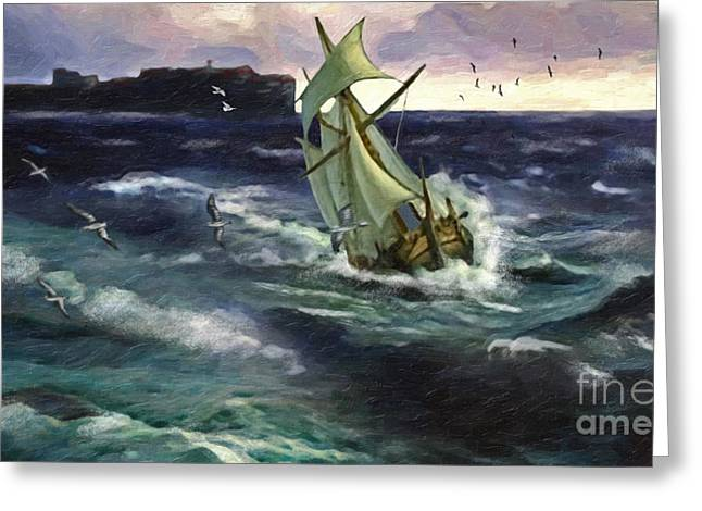 Historic Ship Greeting Cards - Storm at Dubrovnik Greeting Card by Lianne Schneider