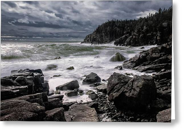 Lubec Greeting Cards - Storm at Gullivers Hole Greeting Card by Marty Saccone