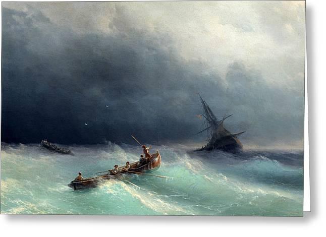 Storm At Sea Greeting Card by Ivan Konstantinovich Aivazovsky