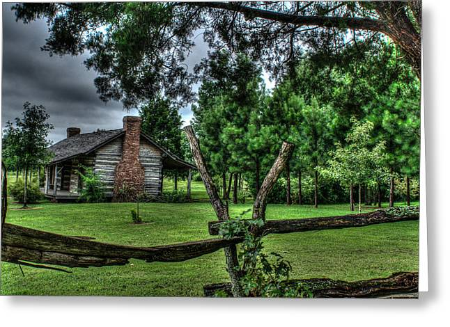 Old Cabins Greeting Cards - Storm at the Old Home Place Greeting Card by Douglas Barnett