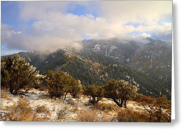 Mountainscapes Greeting Cards - Storm Atop Oquirrhs Greeting Card by Chad Dutson